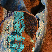 """Аксессуары ручной работы. Ярмарка Мастеров - ручная работа Палантин валяный """"Фирузе"""". Handmade."""