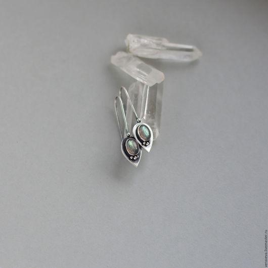 Лёгкие серебряные серьги ручной работы с лабрадорами от VERAVEVA.