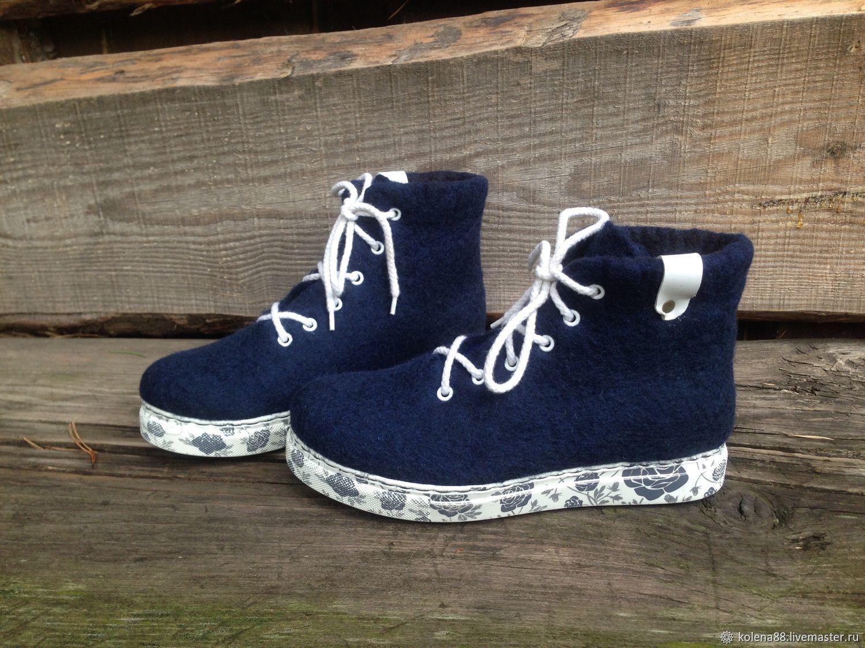 Обувь ручной работы. Ярмарка Мастеров - ручная работа. Купить Валяные ботинки Тёмно-синие. Handmade. Валенки, валенки женские
