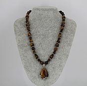 Украшения handmade. Livemaster - original item Necklace with pendant made of natural stones tiger`s eye. Handmade.