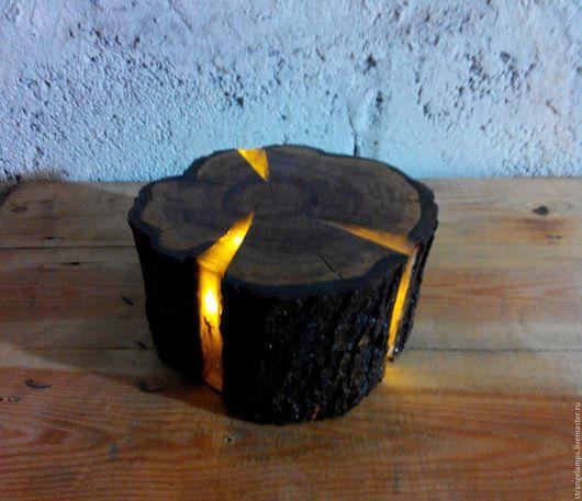"""Освещение ручной работы. Ярмарка Мастеров - ручная работа. Купить Ночник """"Пенек"""". Handmade. Желтый, светильник, натуральная древесина"""