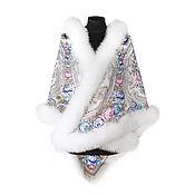 Аксессуары handmade. Livemaster - original item Shawl with fur white Fox 148h148h. Handmade.