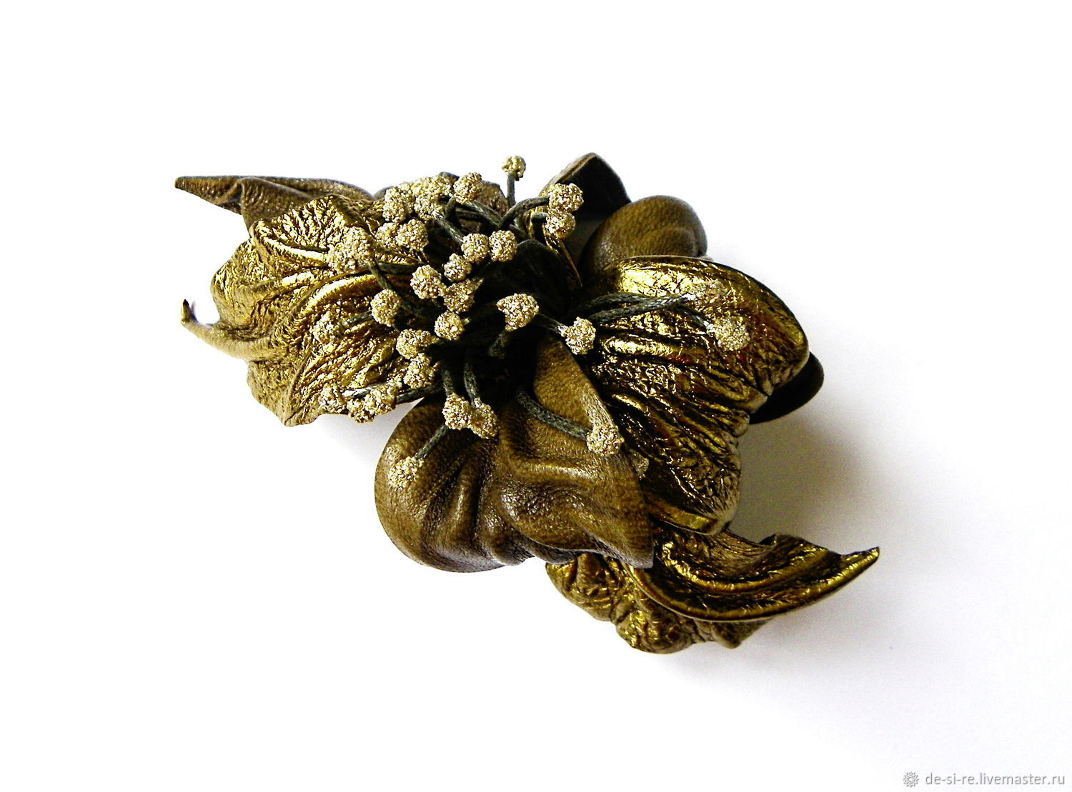 Beautiful hair clip flower Golden Autumn red bronze, Hairpins, Moscow,  Фото №1