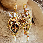 Украшения handmade. Livemaster - original item Soutache earrings beaded Rococo. Handmade.