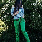 Одежда ручной работы. Ярмарка Мастеров - ручная работа Брюки из хлопка Green. Handmade.