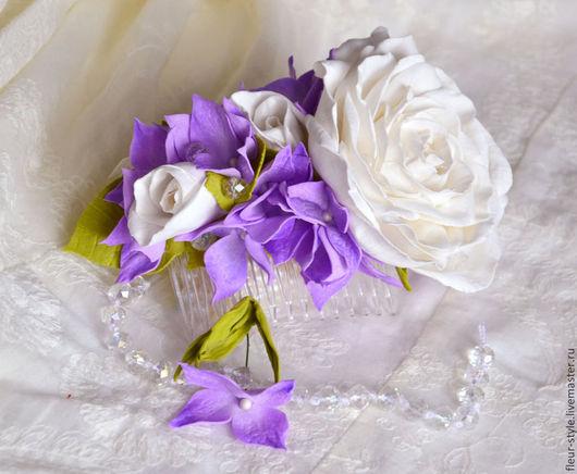 Заколки ручной работы. Ярмарка Мастеров - ручная работа. Купить Гребень с белыми розами и гортензией. Handmade. Белый, для украшений, роза