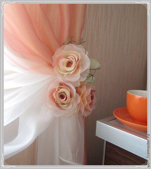 брошь роза кремовая из ткани, украшение, роза, цветок. Цена указана за 1 шт.