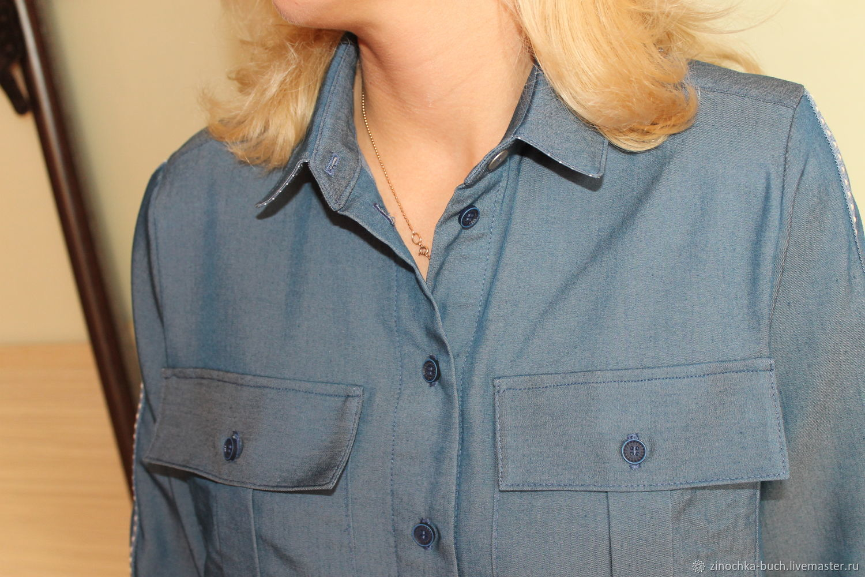 b398b00ce0d Джинсовая женская рубашка синего цвета с лампасами на рукавах. Оксана  Медведская · Блузки ручной работы. Ярмарка Мастеров - ручная работа. Купить  ...