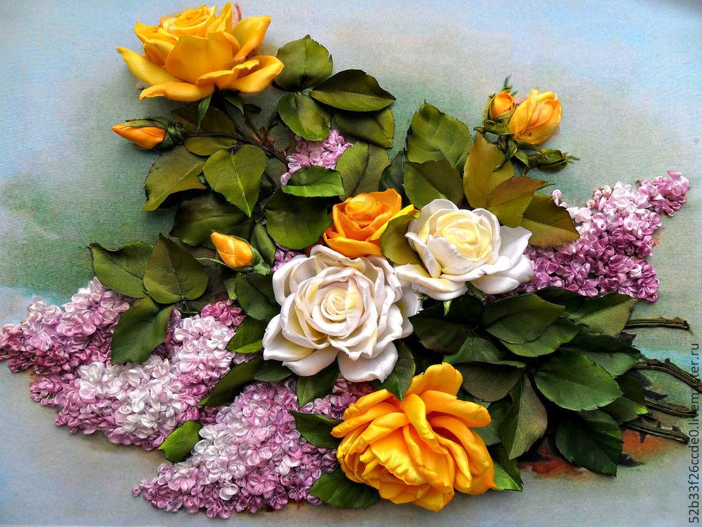 Розы цветов из лент 94