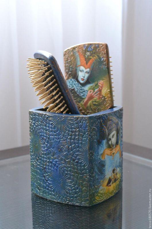 """Карандашницы ручной работы. Ярмарка Мастеров - ручная работа. Купить Подставка """"Карнавал в Венеции"""". Handmade. Тёмно-синий, массив сосны"""