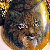 Рыська – кулон с лаковой миниатюрной росписью из серии «Дикие кошки»