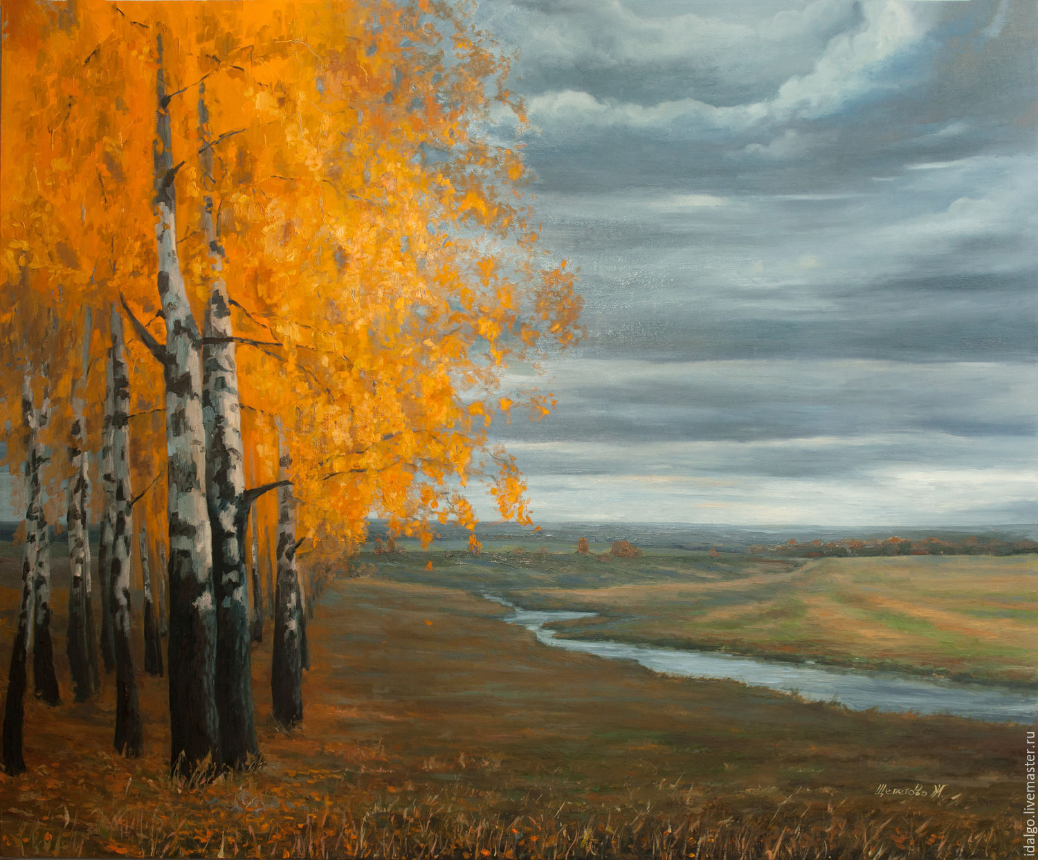 Oil painting 'We were sitting under a birch tree, talked about the fate of', Pictures, Nizhny Novgorod,  Фото №1