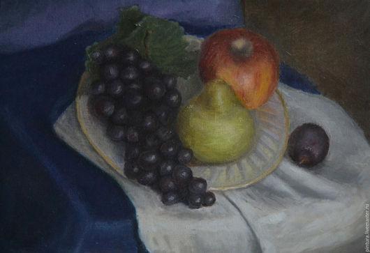 Натюрморт ручной работы. Ярмарка Мастеров - ручная работа. Купить летний натюрморт. Handmade. Виноград, яблоко, тёмно-синий, груша