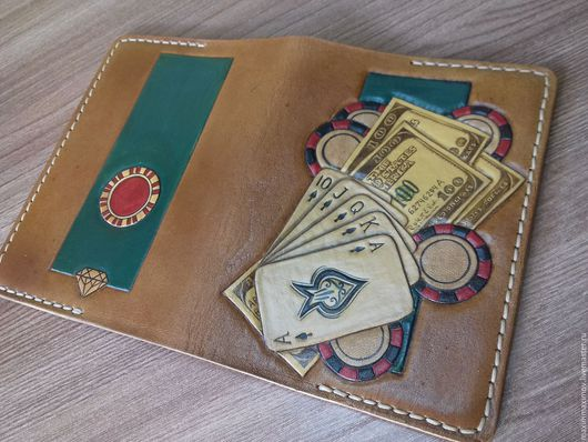 """Обложки ручной работы. Ярмарка Мастеров - ручная работа. Купить Обложка для паспорта """" Казино"""". Handmade. Коричневый, обложка на загранпаспорт"""