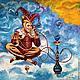 Картина маслом на холсте Витание в Облаках по мотивам работы Хохлачева