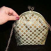 Косметичка, маленькая сумочка жаккардовая золотая, клатч
