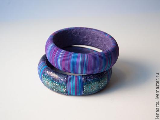 Браслеты из полимерной глины `Фиолетовый вечер`