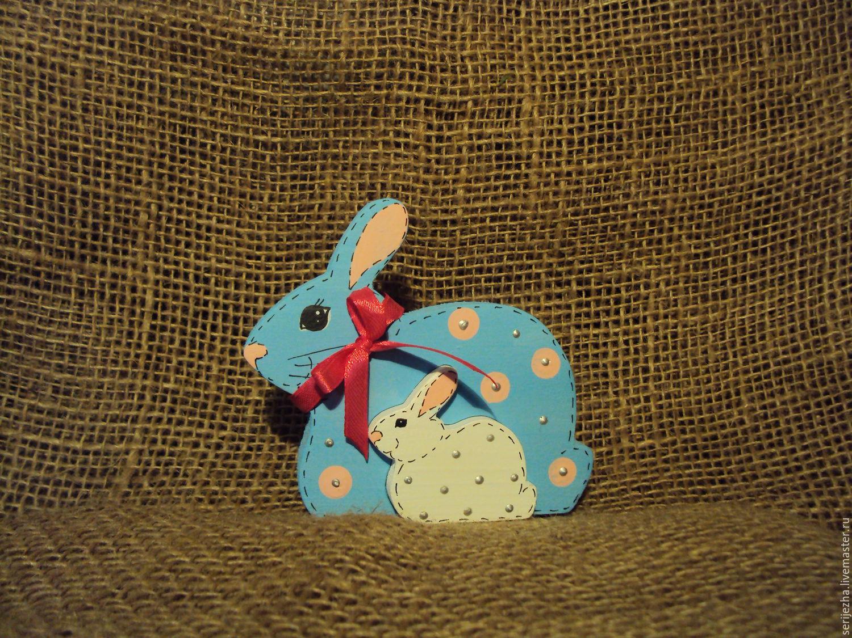 Заяц-зайчонок пазл, деревянная игрушка ручной работы, декорированный.