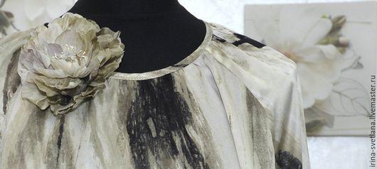 Блузки ручной работы. Ярмарка Мастеров - ручная работа. Купить Шелковая блузка. Handmade. Бежевый, свободный покрой, Шёлк 100%