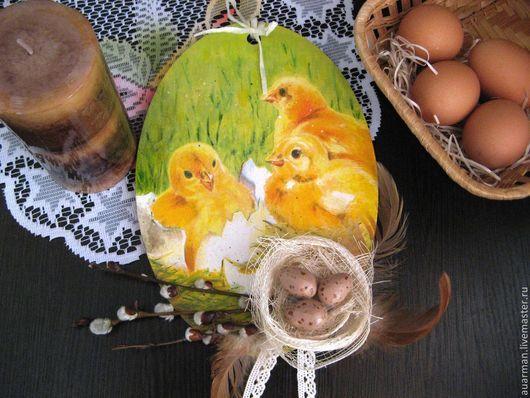 Подарки на Пасху ручной работы. Ярмарка Мастеров - ручная работа. Купить Пасхальное панно - подвеска декупаж Пасхальные яйца Цыплята. Handmade.