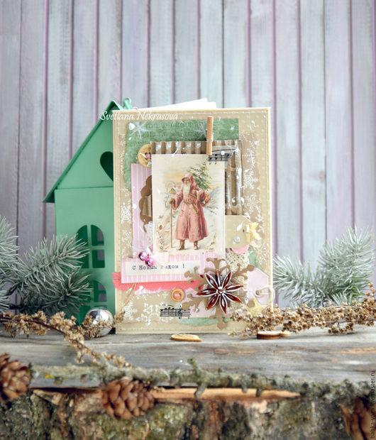 Открытки к Новому году ручной работы. Ярмарка Мастеров - ручная работа. Купить Новогодние поздравления, открытка.. Handmade. Комбинированный