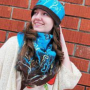 Аксессуары handmade. Livemaster - original item Felted hat and scarf-Bacchus