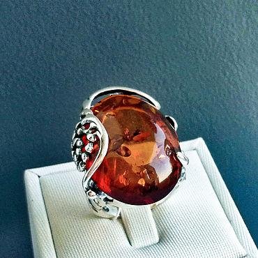 Украшения ручной работы. Ярмарка Мастеров - ручная работа Кольцо серебро, с янтарем натуральным, оксидированное. Handmade.