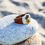 Украшения handmade. Livemaster - original item Wooden ring with Baltic amber raw. Handmade.