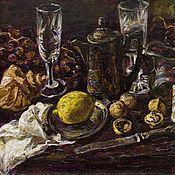 Картины и панно ручной работы. Ярмарка Мастеров - ручная работа Натюрморт с лимоном и раковинами. Handmade.