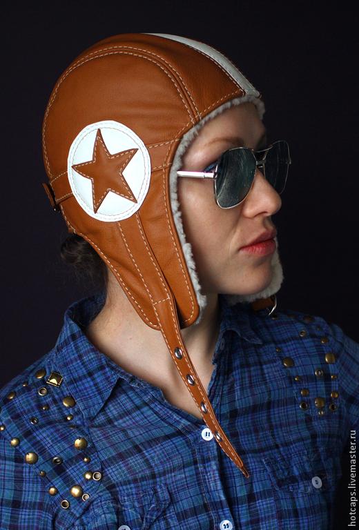 Шапки ручной работы. Ярмарка Мастеров - ручная работа. Купить Кожаная шапка-шлем Star Helmet. Handmade. Рыжий, теплая