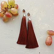 Украшения ручной работы. Ярмарка Мастеров - ручная работа Серьги кисточки коричневые Осень позолота. Handmade.