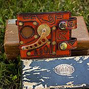 Сумки и аксессуары ручной работы. Ярмарка Мастеров - ручная работа Бумажник в стиле техно-стимпанк, рыжий. Handmade.