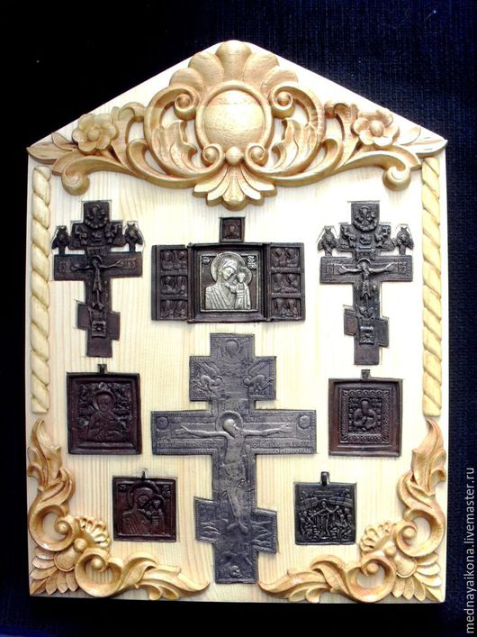 Быт ручной работы. Ярмарка Мастеров - ручная работа. Купить Ставротека (Врезка меднолитых икон и крестов). Handmade. Старина, антиквариат