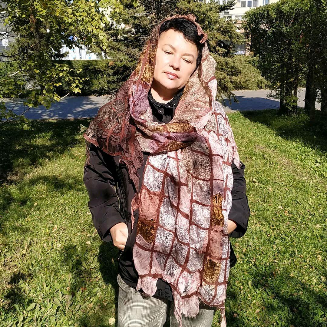"Валяный палантин ""Шоколадное парфе"", Палантины, Алматы,  Фото №1"