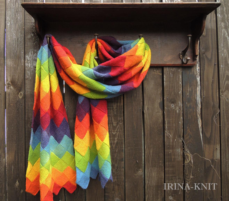 палантин вязаный широкий шарф вязаный купить радуга палантин