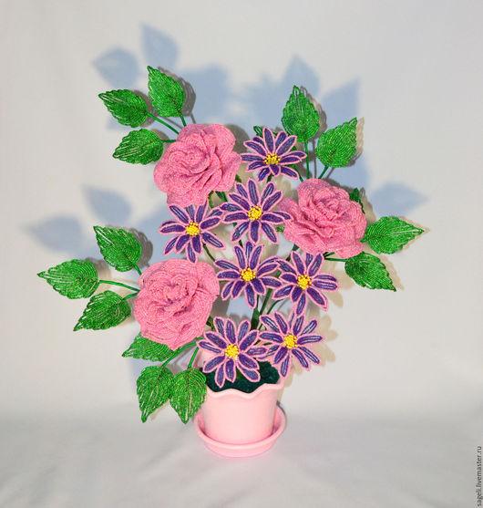 """Цветы ручной работы. Ярмарка Мастеров - ручная работа. Купить Розы и хризатнемы композиция """"Хрустальный аромат"""". Handmade. Розы"""