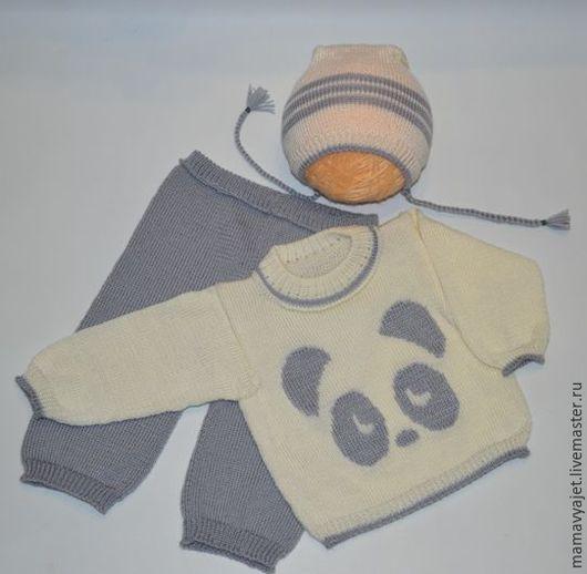 """Одежда унисекс ручной работы. Ярмарка Мастеров - ручная работа. Купить вязаный костюмчик """"ПАНДА"""" унисекс от 6-12 мес.. Handmade."""