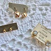 Винтаж handmade. Livemaster - original item Vintage earrings Stud earrings hearts USSR Soviet costume jewelry. Handmade.