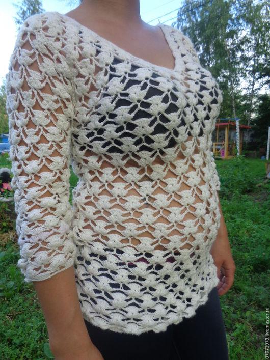 Кофты и свитера ручной работы. Ярмарка Мастеров - ручная работа. Купить полувер. Handmade. Белый, ажурный узор, оригинальный подарок