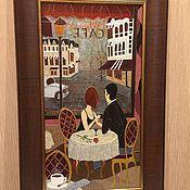 """Картины и панно ручной работы. Ярмарка Мастеров - ручная работа Картина  - """"Двое в кафе"""". Handmade."""