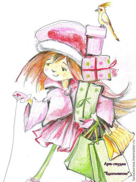 """Люди, ручной работы. Ярмарка Мастеров - ручная работа. Купить Рисунок цветными карандашами """"Девочка с покупками"""" (рисунок на заказ). Handmade."""