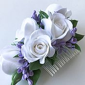 Свадебный салон handmade. Livemaster - original item Comb with flowers in the bride`s hairstyle. Roses and lilacs. polymer clay. Handmade.