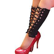 Аксессуары handmade. Livemaster - original item Leggings with lace on leg knitted stockings. Handmade.