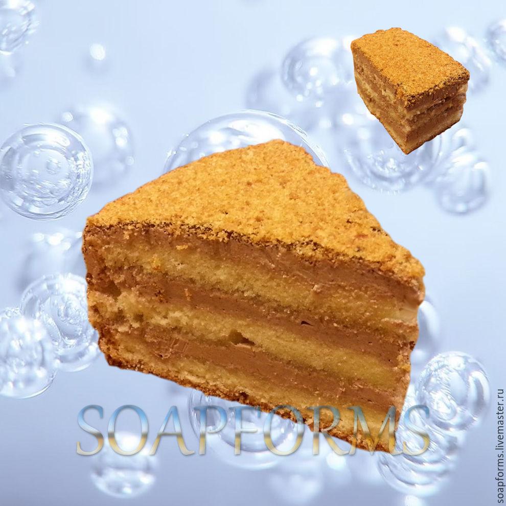Силиконовая форма  для мыла  и свечей `Кусочек бисквитного торта` 3D