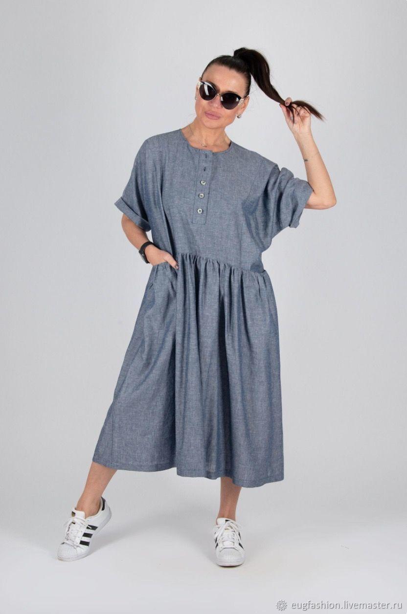 Blue linen dress in large sizes / linen dress - DR0588LE, Dresses, Sofia,  Фото №1