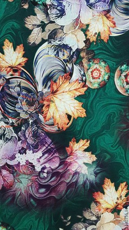 Шитье ручной работы. Ярмарка Мастеров - ручная работа. Купить Ткань штапель цветы на зеленом  0.11. Handmade. Комбинированный