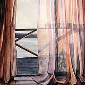 """Картины и панно ручной работы. Ярмарка Мастеров - ручная работа акварель """"Розовый ноктюрн"""". Handmade."""