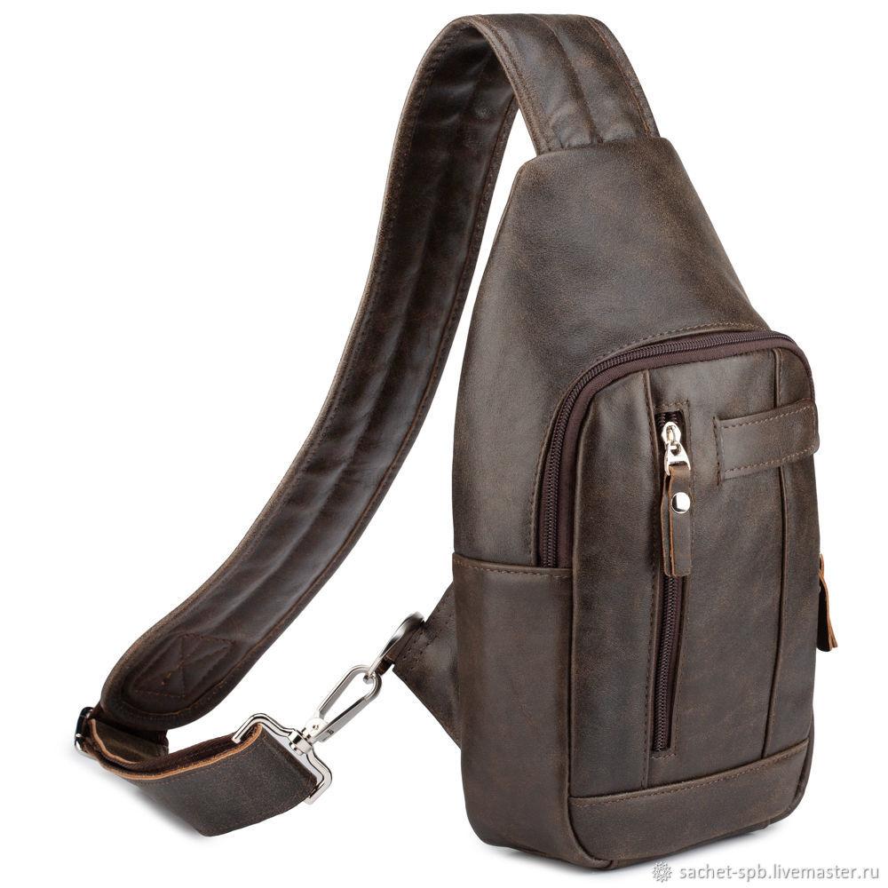 Leather chest bag 'Vatican' (dark brown antique), Crossbody bag, St. Petersburg,  Фото №1