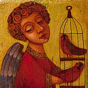 """Панно ручной работы. Ярмарка Мастеров - ручная работа """"Ангел с птичками"""", авторская печать. Handmade."""