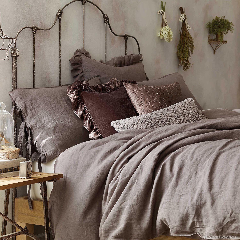 Текстиль, ковры ручной работы. Ярмарка Мастеров - ручная работа. Купить Комплект лилового льняного постельного белья linen bedding. Handmade.
